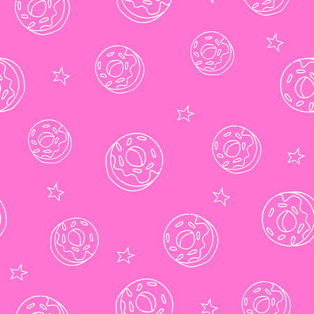 donut style: Seamless pattern with donut and stars. Ornament for textile and wrapping. Vector background.