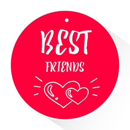Roter Aufkleber mit Text Text besten Freunde und weiße Herzen mit Lichtstrahlen . Vektor Standard-Bild - 80491930