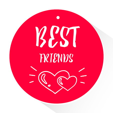 Red sticker with lettering text Best friends and silhouette two hearts with rays. Vector. Illustration