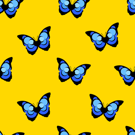Summer pattern with butterfly  blue morpho on yellow background. Vector.