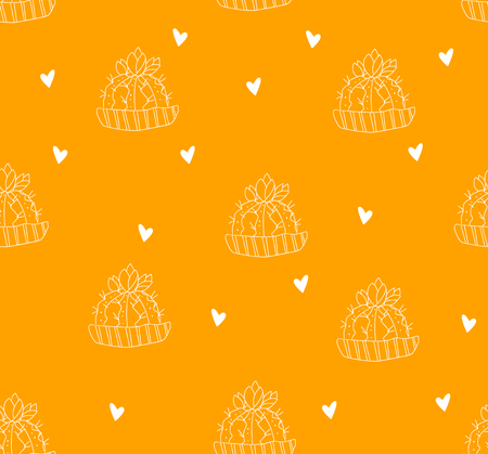 Seamless pattern with contour cactus and hearts on orange background. Vector. Illustration