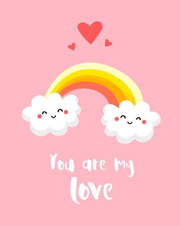 love cloud: Love card with funny clouds and rainbow on pink background. You are my love. Comics style. Vector.
