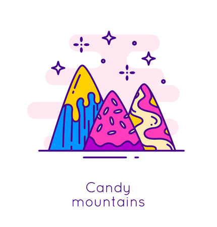 Candy mountains and stars in thin line flat design. Sweet dessert vector banner. Illustration