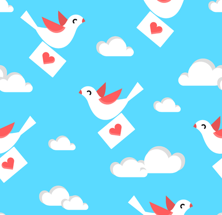 Summer pattern with dove, envelope and clouds in the sky. Vector background.