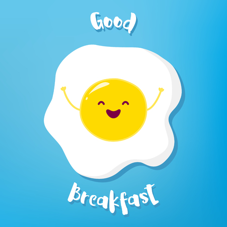 Cartoon fried egg raises hands  and smiles. Vector illustration.