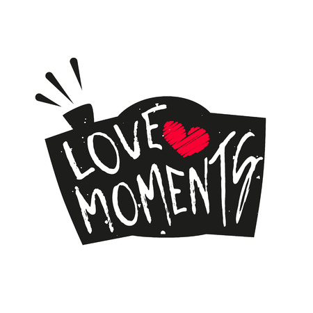 Silhouette of the camera with heart and lettering text Love Moments. Vector label. Illustration