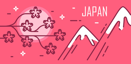 Japan card with moon, sakura flowers and mountains. Illustration