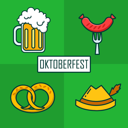 pretzel: Set of icons for Oktoberfest with beer mug, hat, sausage and brezn. Thin line flat design. Vector.