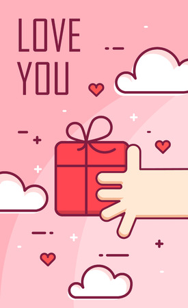 hand print: Vector background with hand and gift box. Thin line flat design banner for Valentines day.