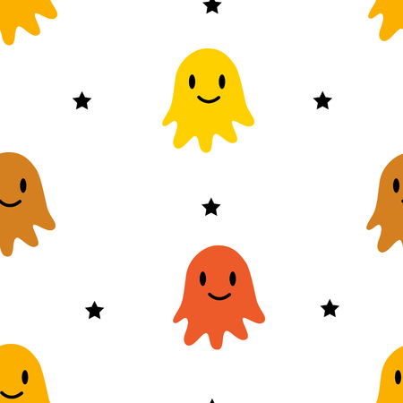 Happy Halloween pattern with color ghosts and stars on white background. Vector ornament for textile and wrapping.
