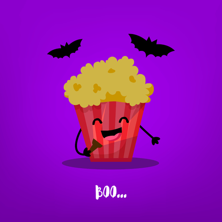 Funny popcorn with flashlight and bats