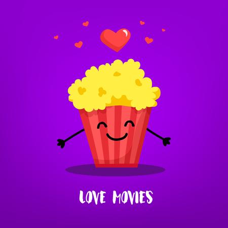 Cartoon bucket of popcorn with hands and hearts