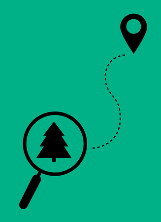 Magnifier with christmas tree and sign of geolocation. Flat design.