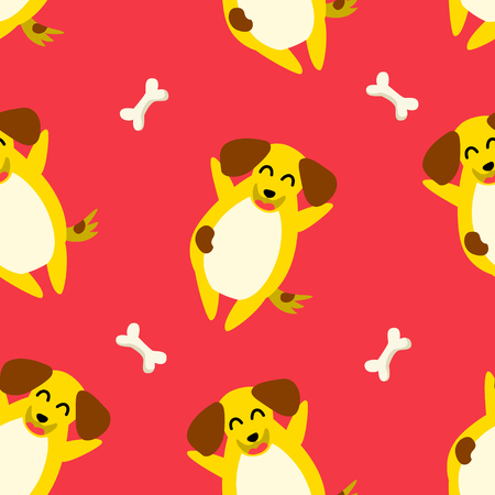 Seamless pattern with yellow dog  and bone on red background. Ornament for textile and wrapping. Vector. Illustration