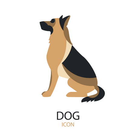 German shepherd vector icon on white background. Flat design.