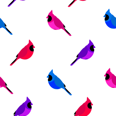 Seamless pattern with colored cardinal. Flat design. Vector background. Illustration