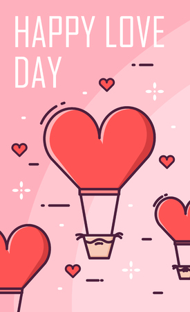 Valentine's day greeting card with air balloons and hearts on pink background. Thin line flat design vector banner. Illustration