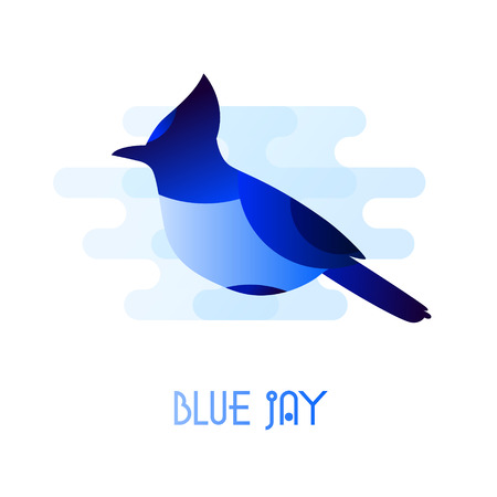 A Blue Jay icon in flat style. Vector. on plain background Illustration