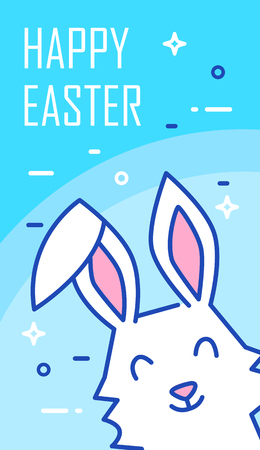 Happy Easter banner with rabbit on blue background. Thin line flat design. Vector greeting card.