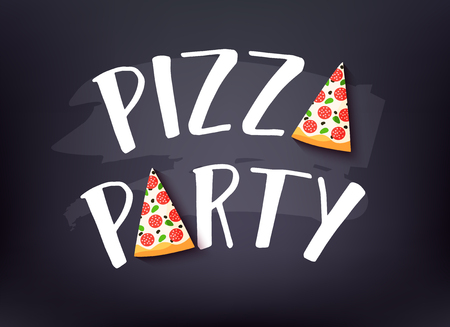 Pizza Party banner with text and slice of pizza on dark background. Vector card.