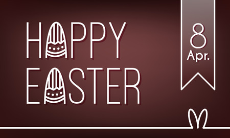 Happy Easter banner with text, date, rabbit ears and eggs. Flat linear style. Vector card.