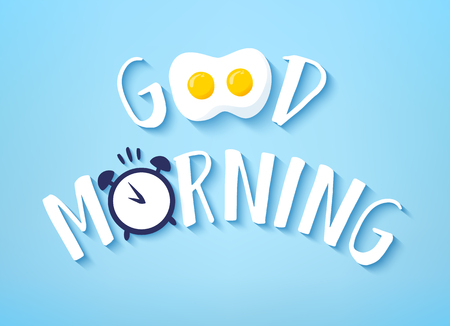 Vector banner for Breakfast with text Good Morning, fried egg and alarm clock on blue background.