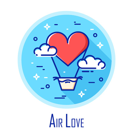 Vector icon with air balloon in the shape of heart and clouds on the sky. Air love. Thin line flat design.