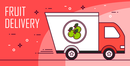 Vector banner with car for fruit delivery. Thin line flat design card.  Illustration