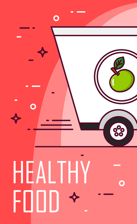 Vector banner with healthy food for delivery. Thin line flat design card.