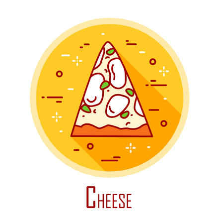 Vector icon with slice of pizza cheese in a coloured circle. Vector banner for fast food. Thin line flat design. Illustration