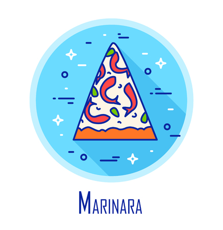 Vector icon with slice of pizza Marinara in a coloured circle. Vector banner for fast food. Thin line flat design.