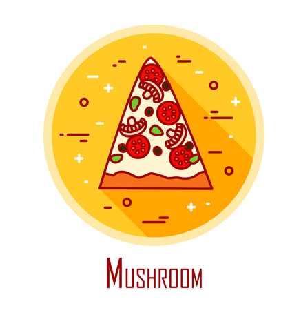 Vector icon with slice of pizza Mushroom in a coloured circle. Vector banner for fast food. Thin line flat design.