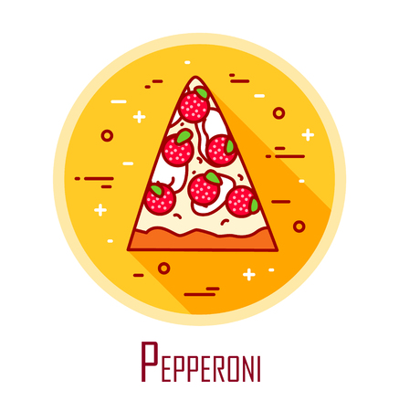 Vector icon with slice of pizza pepperoni in a coloured circle. Vector banner for fast food. Thin line flat design.  Illustration
