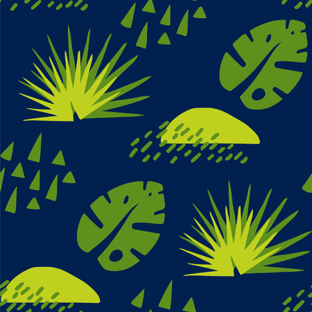 Tropical pattern with abstract elements and palm leaf on dark background. Ornament for textile and wrapping. Vector.