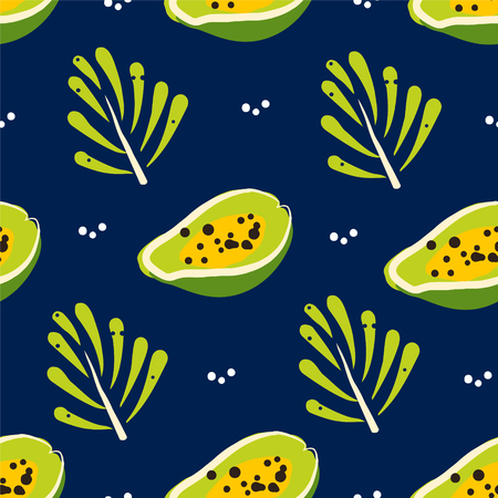 Tropical pattern with papaya and branches on dark background. Ornament for textile and wrapping. Vector.