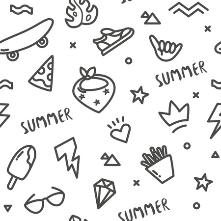 Hipster pattern with old school tattoo elements in doodle style. Ornament for textile and wrapping. Vector summer background.