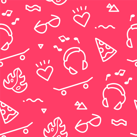 Summer pattern with old school tattoo elements in doodle style on red background. Ornament for textile and wrapping. Vector. Illustration