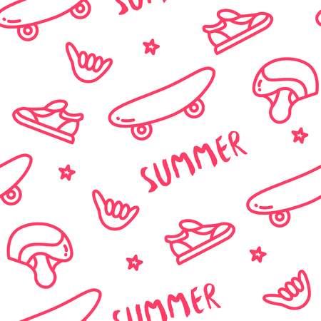 Old school pattern with skateboard, helmet, sneakers, hand and text on white background. Ornament for textile and wrapping. Vector. Illustration