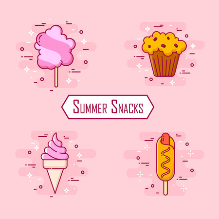 Set of summer snacks: corn dog, ice cream, cotton candy, cake. Vector icons for fast food. Thin line flat design.