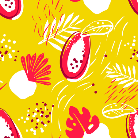 Natural pattern with abstract papaya and tropical plants on yellow background. Ornament for textile and wrapping. Vector.