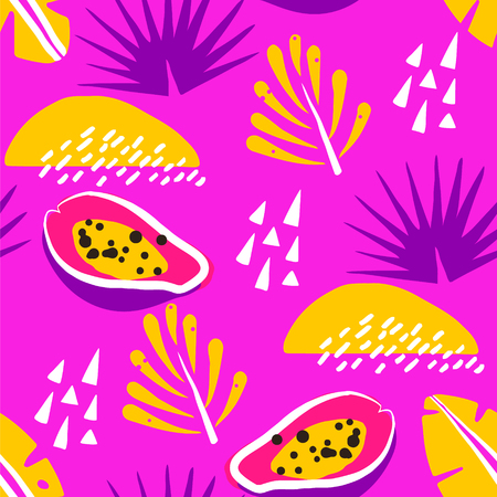 Bright summer pattern with abstract papaya and cute tropical plants on pink background. Ornament for textile and wrapping. Vector.