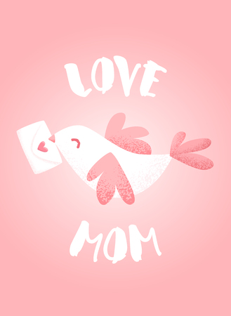 Postcard for Mothers Day with cute bird and letter on pink background. Vector card.