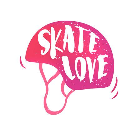 Helmet with lettering text Skate love on white background. Vector color sticker. Illustration