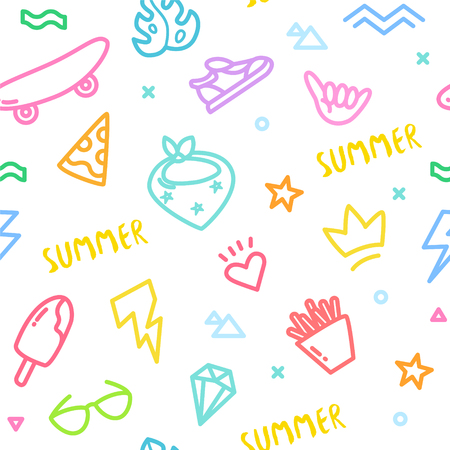 Summer pattern with old school tattoo elements in doodle style. Ornament for textile and wrapping. Vector color background.