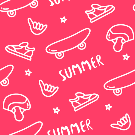 Seamless pattern with skateboard, helmet, sneakers, hand and text on red background. Ornament for textile and wrapping. Vector. Illustration