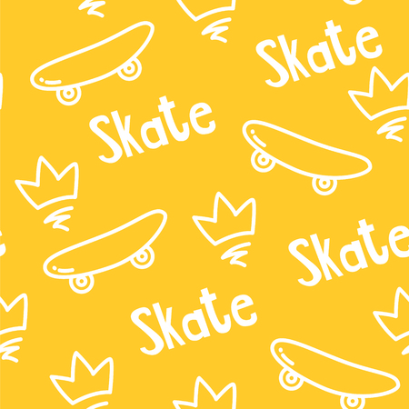 Summer pattern with skateboard, crown and text on yellow background. Ornament for textile and wrapping. Vector.