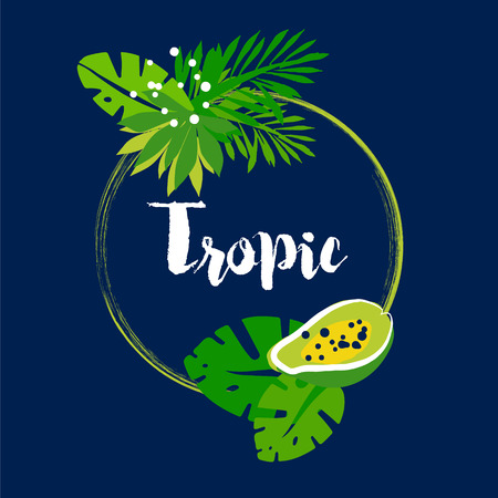 Tropical summer frame with palm leaves, papaya and text on dark background. Flat design. Vector illustration. Illustration