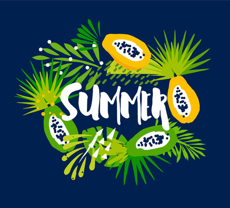 Funny summer card with palm leaves, papaya, abstract plants and text on dark background. Flat design. Vector tropical illustration.