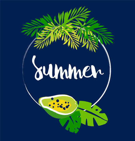 Tropical card with frame, palm leaves, papaya and text on dark background. Flat design. Vector summer illustration.