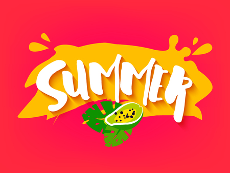 Bright summer card with papaya, palm leaves and text on red background. Flat design. Vector illustration. Illustration